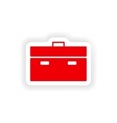 Icon sticker realistic design on paper briefcase vector