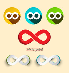 Infinity symbol endless icons set vector