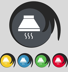 Kitchen hood icon sign Symbol on five colored vector image