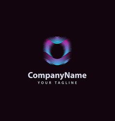 letter o modern wave line logo design template vector image