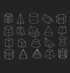 Line geometric shapes 3d icons set vector