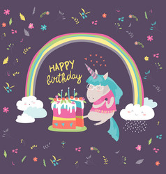 Little unicorn celebrates birthday with a vector