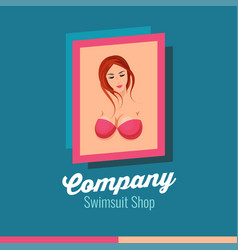 Logotype with sexy young beautiful woman in vector