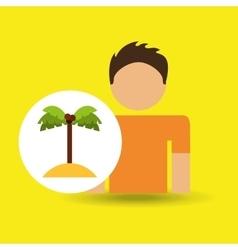 Male character traveler palm beach vector