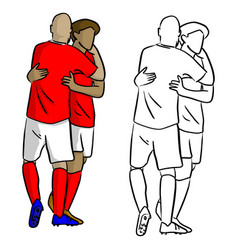 Male soccer players celebrating goal with hug vector