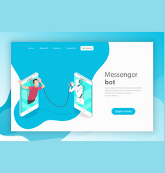 messenger bot and ai flat isometric landing vector image