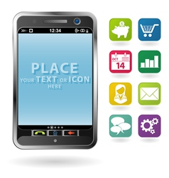 mobile smartphone with a blank place for icon and vector image