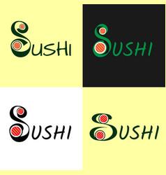 Modern flat logo for sushi set roll japanise vector