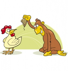 monkey and chicken vector image