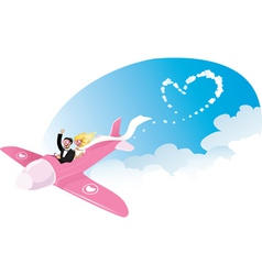 Newlyweds on airplane vector image