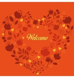 Orange floral heart with text Welcome vector