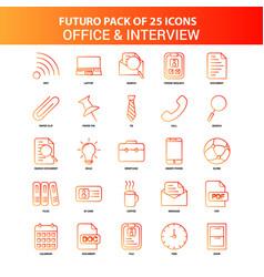 orange futuro 25 office and interview icon set vector image