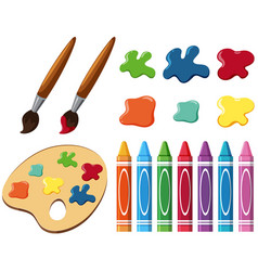 Paintbrushes and crayons on white background vector