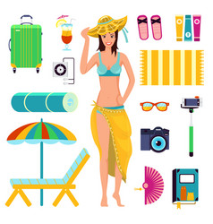 preparing for summer beach holiday to vacation vector image