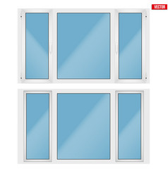 pvc window with three sash vector image