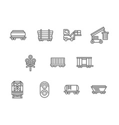 Railway freight black line icons set vector