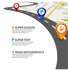 Road map city infographic with colorful pins vector image