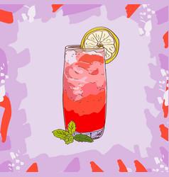 Sea breeze cocktail alcoholic classic bar drink vector