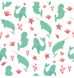 seamless pattern with cute sea animals vector image