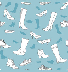 Seamless pattern with women shoes vector