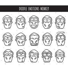 Set 15 doodle heads of monkeys with different vector