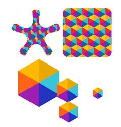 set of abstract color box logo vector image