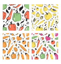set of hand drawn seamless pattern with vegetable vector image