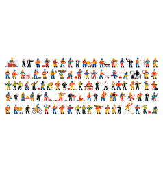 set people working in construction industry vector image