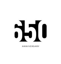 six hundred fifty anniversary minimalistic logo vector image