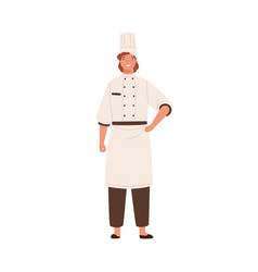 smiling female chef in toque and uniform vector image