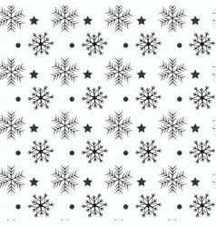Snowflake simple seamless pattern black snow on vector