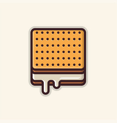 Square biscuit line art icon vector