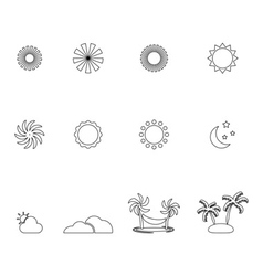 Summer line icon set vector