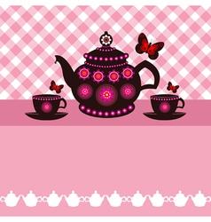Tea pot and cups vector