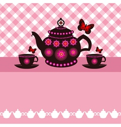 Tea pot and tea cups vector
