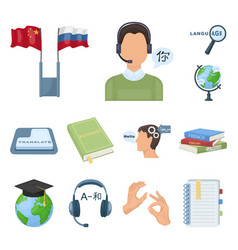 translator and linguist cartoon icons in set vector image