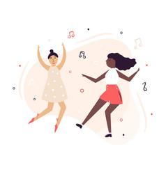 two happy dancing women having fun vector image