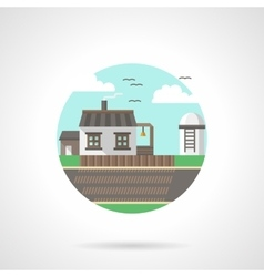 Village scene detailed flat color icon vector