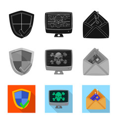 Virus and secure icon set vector