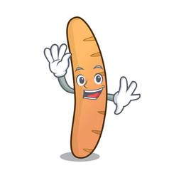 Waving baguette character cartoon style vector