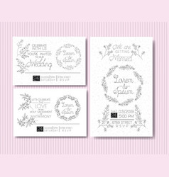 Wedding and married invitation set cards with vector