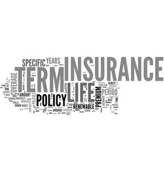 What is term life insurance text word cloud vector