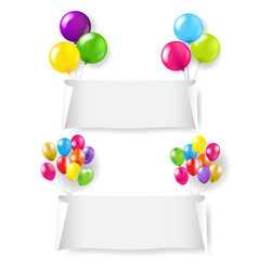 white paper banner with color balloon set vector image