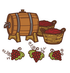 Wine barrel grape vine harvest winepress vector