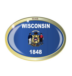 Wisconsin state flag oval button vector