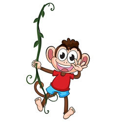 A monkey hanging on a plant vector image vector image