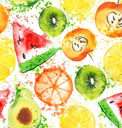 Fruits watercolor seamless pattern vector image vector image