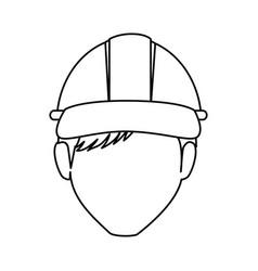worker with helmet avatar vector image