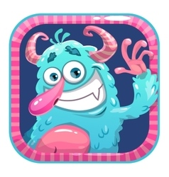 App icon with blue fluffy funny monster vector image