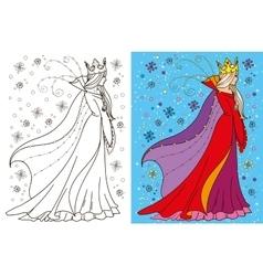 Colouring Book Of Snow Queen vector image